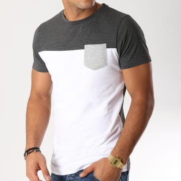 LBO - Tee Shirt Poche 191 Gris Anthracite Blanc
