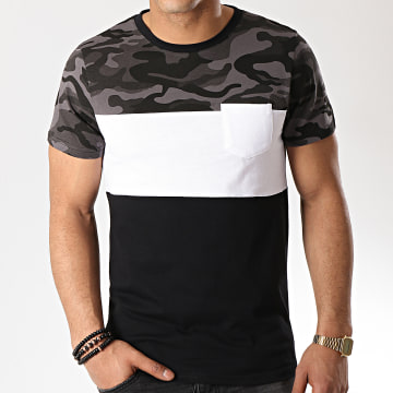 Tee Shirt Poche 135 Noir Blanc Camouflage