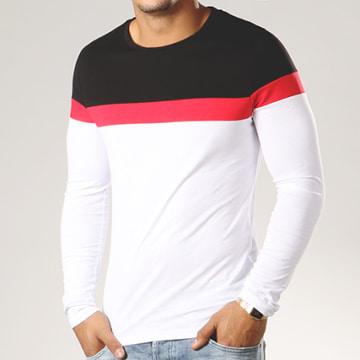 Tee Shirt Manches Longues Tricolore 322 Noir Blanc Rouge