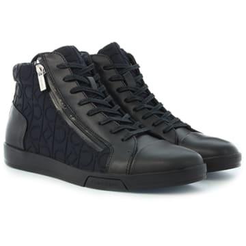 Baskets Berke Brush Leather CK Embossed Neoprene Black