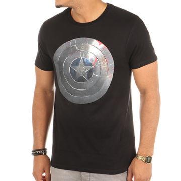 Captain America - Tee Shirt Shield Silver Noir