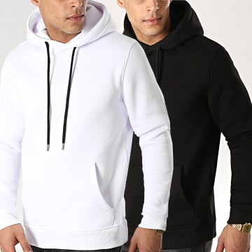 LBO - Lot de 2 Sweats Capuche 333 Blanc et Noir
