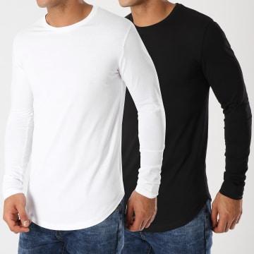 Lot De 2 Tee Shirts Oversize Manches Longues Unis 340 Noir Et Blanc