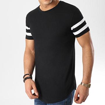 Tee Shirt Oversize Avec Bandes Blanches 351 Noir