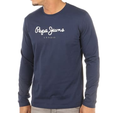 Pepe Jeans - Tee Shirt Manches Longues Eggo Bleu Marine