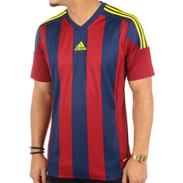 Adidas Performance - Tee Shirt De Sport Striped 15 Jersey S16141 Bordeaux Bleu Marine