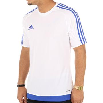 Adidas Performance - Tee Shirt De Sport Estro 15 Jersey S16169 Blanc Bleu Marine