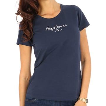 Pepe Jeans - Tee Shirt Femme New Virginia Bleu Marine