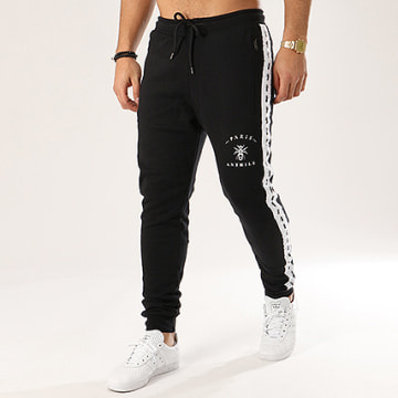 Anthill - Pantalon Jogging Bandes Brodées Tape Noir Blanc