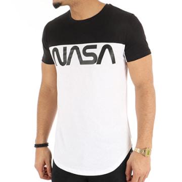Tee Shirt Oversize Worm Logo Bicolore Blanc Noir