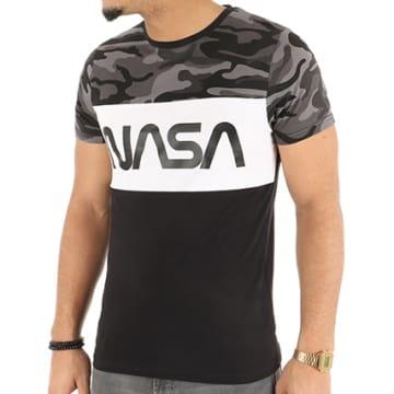 Tee Shirt Worm Logo Tricolore Noir Blanc Camo
