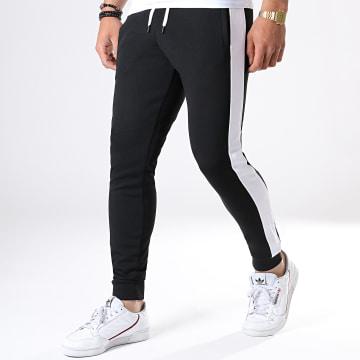 Pantalon Jogging Poly 354 Noir Bandes Blanches