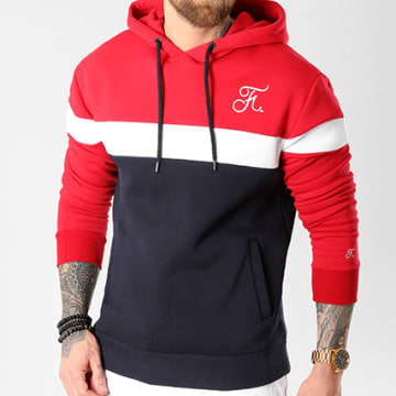 Final Club - Sweat Capuche Tricolore Avec Broderie 034 Bleu Marine Blanc Rouge