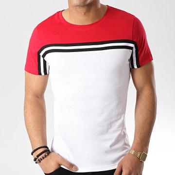 Tee Shirt Avec Bandes 400 Rouge Blanc