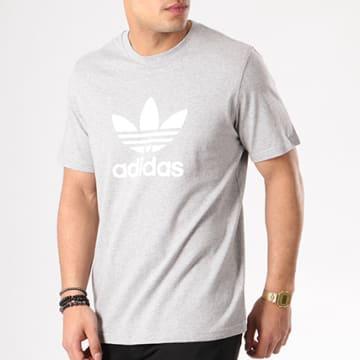 Adidas Originals - Tee Shirt Trefoil CY4574 Gris Chiné Blanc