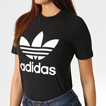 Adidas Originals - Tee Shirt Femme Trefoil CV9888 Noir Blanc