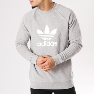 Adidas Originals - Sweat Crewneck Trefoil CY4573 Gris Chiné