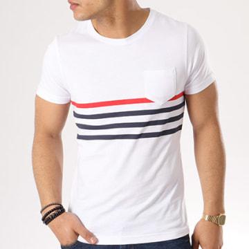 Tee Shirt Poche Avec Rayures 412 Blanc Bleu Marine Rouge