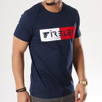 Tee Shirt Logo Bicolore Feutrine Bleu Marine Rouge Blanc