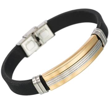 California Jewels - Bracelet Straight Noir Doré