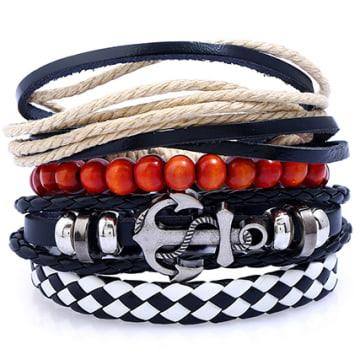 Lot De 5 Bracelets Anchor Noir Rouge Beige