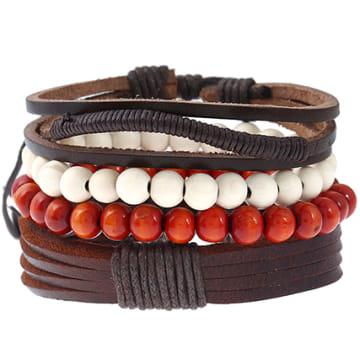 Lot De 3 Bracelets Shore Marron Blanc Rouge