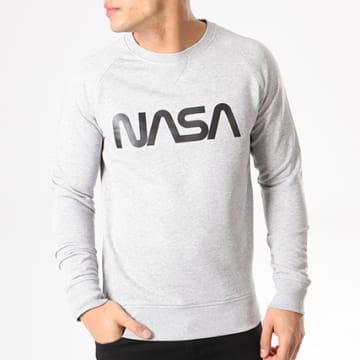 NASA - Sweat Crewneck Worm Logo Gris Chiné