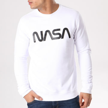 NASA - Sweat Crewneck Worm Logo Blanc