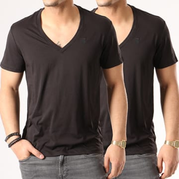Lot De 2 Tee Shirts V-neck D07203-2757-2019 Noir