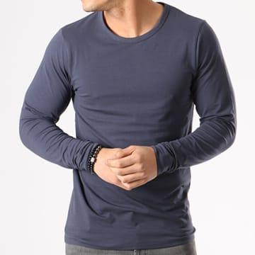Tee Shirt Manches Longues O Neck Bleu Marine