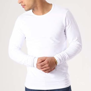 Jack And Jones - Tee Shirt Manches Longues O Neck Blanc