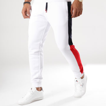 LBO - Pantalon Jogging Poly 413 Blanc Bandes Bleu Marine Et Rouge