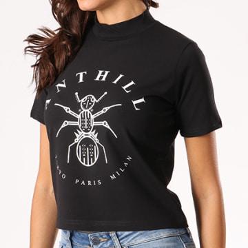 Tee Shirt Crop Femme Logo Noir
