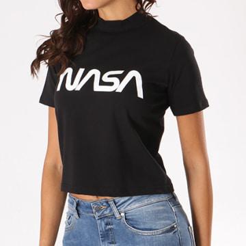 Tee Shirt Crop Femme Worm Logo Noir