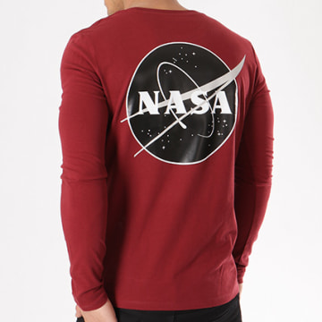 NASA - Tee Shirt Manches Longues Insignia Desaturate Bordeaux