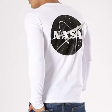 NASA - Tee Shirt Manches Longues Insignia Desaturate Blanc