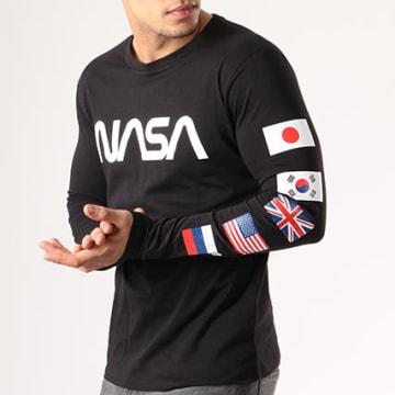NASA - Tee Shirt Manches Longues Flags Noir
