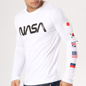 NASA - Tee Shirt Manches Longues Flags Blanc