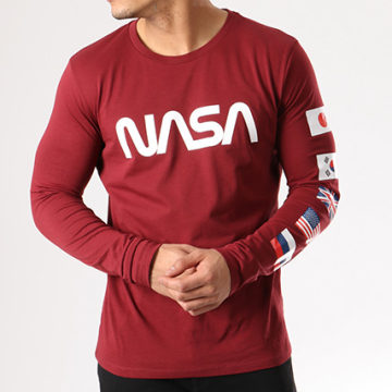 NASA - Tee Shirt Manches Longues Flags Bordeaux