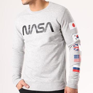NASA - Sweat Crewneck Flags Gris Chiné