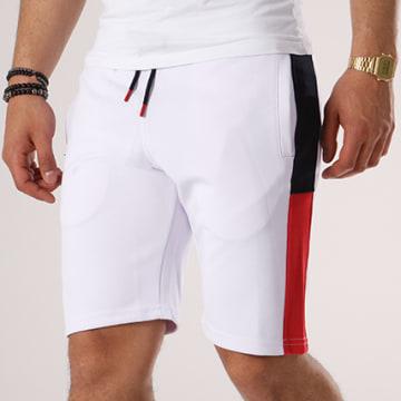 LBO - Short Jogging Poly 432 Blanc Bandes Bleu Marine Et Rouge