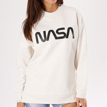 NASA - Sweat Crewneck Oversize Femme Worm Logo Beige