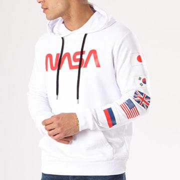 NASA - Sweat Capuche Flags Blanc Rouge
