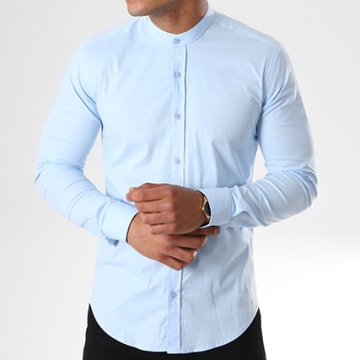 LBO - Chemise Manches Longues Col Mao Slim Fit 405 Bleu Clair