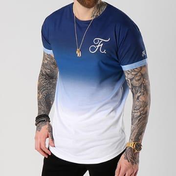 Tee Shirt Oversize Dégradé Avec Broderie 015 Bleu Et Blanc