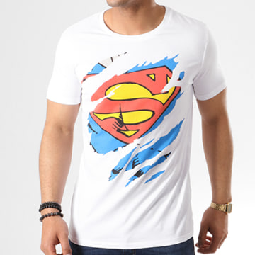 DC Comics - Tee Shirt Superman Tear Up Blanc