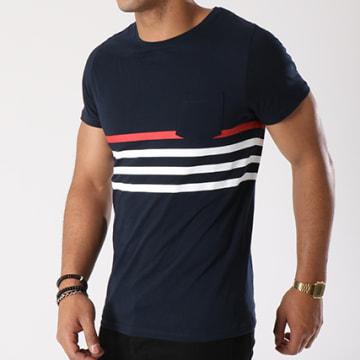 Tee Shirt Poche Avec Rayures 445 Bleu Marine Blanc Rouge