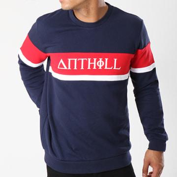 Anthill - Sweat Crewneck Avec Bande Typo Bleu Marine