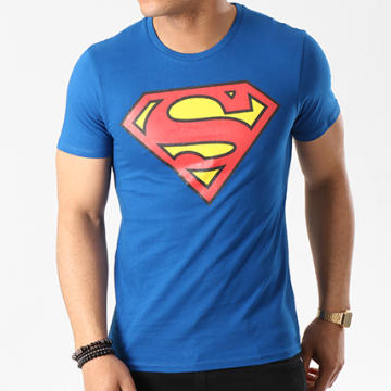 DC Comics - Tee Shirt Superman Logo Bleu Roi