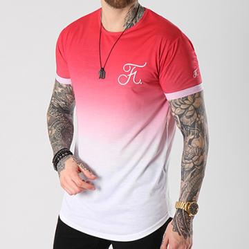 Tee Shirt Oversize Dégradé Avec Broderie 055 Rouge Et Blanc